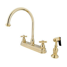 Kingston Brass Restoration Double Handle Kitchen Faucet with Brass Spray
