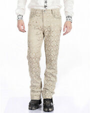 Pentagramme Mens Trousers Pants Cream Brocade Steampunk VTG Gothic Aristocrat
