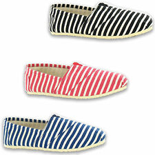 Mens Striped Canvas Lightweight Summer Slip On Elasticated Espadrilles  Shoes