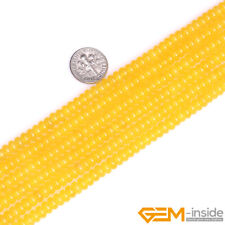 """Natural Yellow Agate Gemstone Rondelle Spacer Beads For Jewelry Making 15"""" YB"""