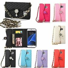 Bling Diamond PU Leather Wallet Card Holder Handbag Case For iPhone & Samsung