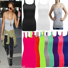 WOMENS RIBBED VEST STRETCTY LADIES BRIGHT RIBBED VEST TOP T SHIRT SIZES 8-14 RIB