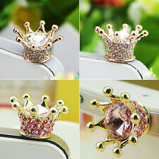 Crystal Crown Earphone Jack Anti Dust Plug Cap Stopper for CellPhone 3.5mm SND