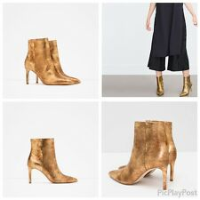 zARA GOLD SHINY LEATHER HIGH HEEL ANKLE BOOTS EUR 37-39 US 6.5-8 REF. 6112/001!