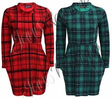 New Womens Ladies Tartan Check Print Long Sleeve Tulip Pocket Mini Skater Dress