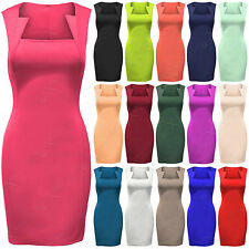 NEW WOMENS LADIES SQUARE NECK SLIM LOOK EFFECT DRESS BODYCON SKIRT SHIFT DRESSES