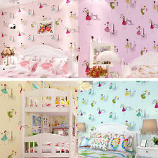 10m Kids Simple Non-woven Flocking Wallpaper Bedroom Background Wall Paper Rolls