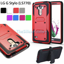 Rugged Tough Armor Heavy Duty Case Holster Belt Clip Cover For LG G Stylo LS770