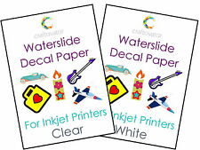 5 Pack Water Slide Decal Paper INKJET A4 Waterslide Transfer Craft Sheets