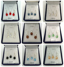 SET 12 colours Necklace Earrings Swarovski Elements Crystal Mini Pear 10 mm 925