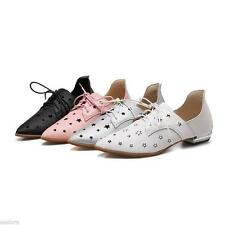 Womens Synthetic Leather Hollow Out Shoes Low Heel Lace Up Pumps Court Shoes 365