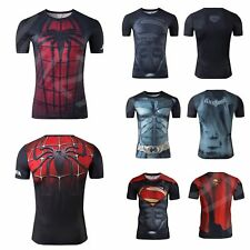 Marvel Superhero Mens Costume Tee T-Shirt Gym Sport Short Sleeve Bicycle Jersey