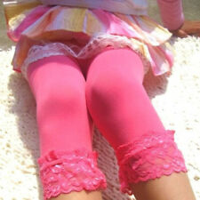 Kids Girls Solid Candy Color Lace Velvet Skinny Stretchy Leggings Pants Trousers