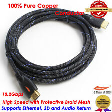 15FT HDMI Cable Advanced Braided HDMI 1.4 Cable Ethernet 3D 1080P for HDTV PS3