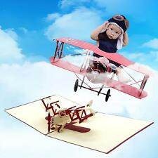 Chic 3D Pop Up Airplane Shape Unique Handmade Best Wish Greeting Card Funny Gift