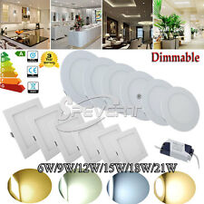 Dimmable 6W 9W 12W 15W 18W 21W LED Recessed Ceiling Panel Down Light AC 85-265V