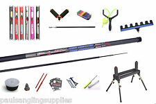 Carbo carbon 11m fishing starter pole package Roller,rigs,catapult ,Elastic  etc