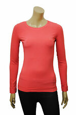 Womens H&M T-Shirt Long Sleeve Top Salmon Pink Size 10 to 14 Ladies A17