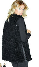 NWT GUESS Louise Faux Sherpa Shearling Leather Vest Top Black S 4 5