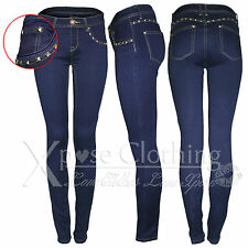 WOMENS LADIES GOLD STUD POCKETS SKINNY BLUE JEANS STRETCH DENIM SLIM FIT PANTS