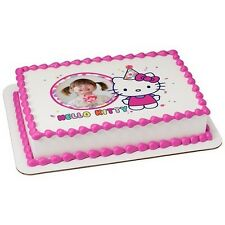 Hello Kitty Birthday ~ Edible Photo Frame Cake Topper ~ Edible Image ~ D58209