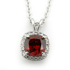 Sterling Silver Simulated Garnet & Cubic Zirconia 8mm Cushion Cut Halo Necklace