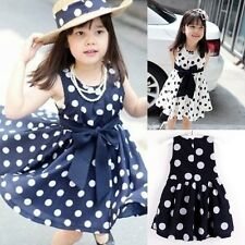 Kids Girls Summer Polka Dot Chiffion Bowknot Belt Sundress Tunic Dress Skirts