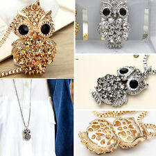 Fashion Vintage Sweater Chain Cute Bling Crystal Owl Big Eyes Pendant Necklace B