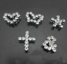 Free Shipping, 50PCs 8mm Rhinestone Mixed Style Wave Slide Charms Fit 8mm Belts