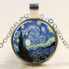Van Gogh Starry Night Oil Painting Glass Photo Art Pendant Chain Necklace