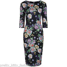 PRETTY KITTY 40s BLACK FLORAL WIGGLE PENCIL BODYCON VINTAGE COCKTAIL DRESS 10-18