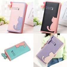 Cat Fashion Lady Women Leather Clutch Wallet Long Card Holder Purse Handbag