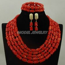Natural Orange Coral Necklace Sets,African Coral Beads Necklace Jewelry Sets New