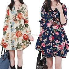 Womens Long Sleeve Pregnant V-Neck Maternity Linen Loose Floral Shirt Dress