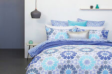 Marrakech King Size Quilt / Doona Cover Set Blue Grey 3 or 5 Pce Set New