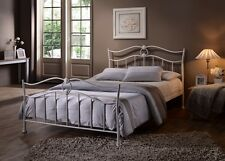 Amelia 4'6 Double Metal Bed Frame - White - French Vintage Chic Spring Mattress