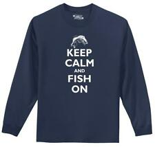 Keep Calm And Fish On Funny Fishing L/S T Shirt Cute Fishing Trip Tee Z1