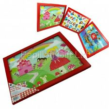 Kids Cushioned Bean Bag Lap Tray Dinner/Laptop/Bed/TV Alphabet/Pirate/Fairy