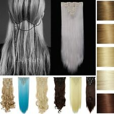 Real Thick 8 Piece 100% Full Head Clip in Hair Extensions as Human Curly Long B4