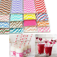 25 color Striped paper dringking straw-rainbow mixed for party table decorations
