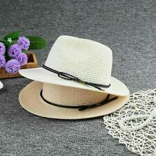 Straw Hat Summer Womens Lady Fedora Braided Beach Cap Wide Brim Panama Hat D0O6