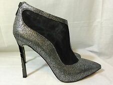 Sam Edelman Sterling Silver Argento Lea leather mesh ankle boots stiletto shoes
