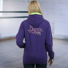 Girls Purple Hoodie, Personalised Free ~ Embroidered Dance Design, Add Your Name