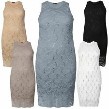 New Womens Floral Lace Sequins Sleeveless Midi Dress 12-22