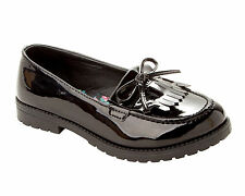 GIRLS BLACK PATENT SCHOOL SLIP ON CHUNKY LOAFERS DOLLY PUMPS SHOES SIZE 13-5