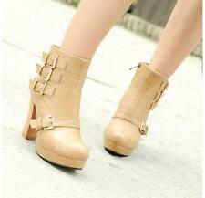 Womens Round Toe Ankle Straps Boots Platform High Heel Chunky Pumps Shoes Size