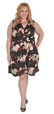 New Plus Size Stunning Black Floral Cross Over Dress 18 20 22 24 26 28