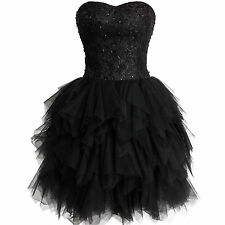 Black Short Homecoming Dresses Tulle Cocktail Party Gown Strapless Ruffled Proms