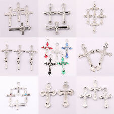 Wholesale 25Pcs Lots Tibet Silver Plain Cross Spacer Charm Pendant Craft 15Style