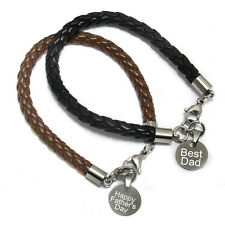 Father's Day Gift for Dad - Leather Bracelet- Personalised Engraved Metal Charm